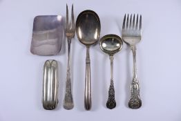 A William IV Silver Kings Pattern Serving Fork, and mixed silverware, the serving fork maker's