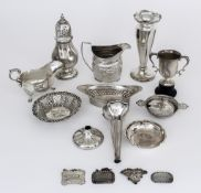 A George III Silver Oval Milk Jug, and mixed silverware, the milk jug makers mark rubbed, London