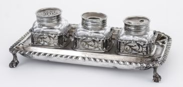 A George II Silver Rectangular Inkstand, by Edward Aldridge, London 1759, with bold gadroon