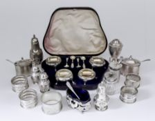 A Set of Four Victorian Silver Circular Salts, and mixed silverware, the four salts by Martin Hall &