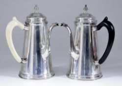 A Pair of George V Silver Side Handled Coffee Pots, by S. Blanckensee & Sons Ltd, London 1932, of ""