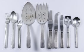 "A 20th Century Danish Sterling Silver ""Bernadotte"" Pattern Table Service, by Georg Jensen, for eight"