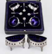 A Pair of George III Silver Oval Salts, and mixed silverware, the oval salts by Peter & Ann Bateman,