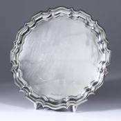 George V Silver Circular Waiter, by Walker & Hall, Sheffield 1935, with shaped and moulded rim, on