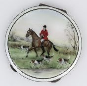 An Elizabeth II Silver and Enamel Circular Compact, by Garrad & Co. Ltd, London 1961, the lid