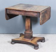 A William IV Mahogany Sofa Table of Small Proportions, fitted one frieze drawer, on central