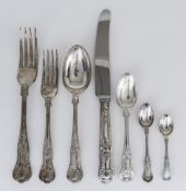 An Elizabeth II Silver Kings Pattern Table Service for Six Place Settings and Matched Flatware,