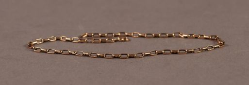"""9ct GOLD CHAIN, 10 1/2"""" (26.6cm) long, 3gms (no clasp ring)"""