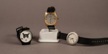 GENT'S BENTIMA 'STAR' GOLD PLATED SWISS WRISTWATCH with quartz movement, the circular silvered