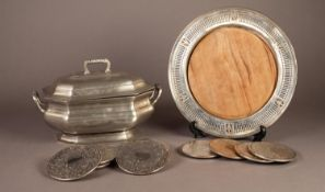 ELECTROPLATED CIRCULAR BREAD BOARD STAND WITH WOODEN INSERT, together with a SET OF SIX DRINKS