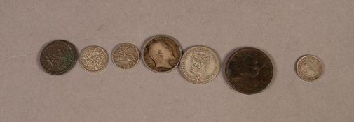 """GEORGE III 1800 COPPER HALF-PENNY COIN, 1 1/8"""" (2.8cm) diameter; a ROMAN BRONZE COIN; 2 SILVER"""