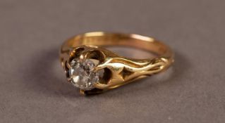 18ct GOLD RING WITH AN OLD CUT, CUSHION SHAPED SOLITAIRE DIAMOND, in a six claw setting with fancy