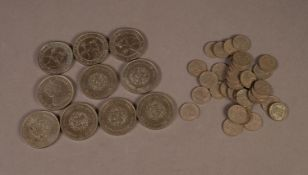 9 ELIZABETH II CROWN COINS, six 1972 and three 1977; a Charles & Diana 1981 CROWN COIN and 33,