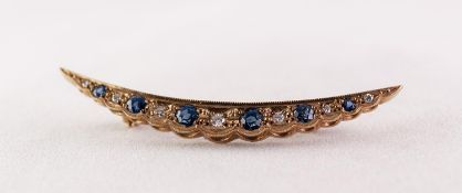 A TWENTIETH CENTURY 9ct GOLD CRESCENT SHAPE BROOCH, set with six tiny diamonds and six sapphire blue