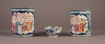 SLIGHTLY GRADUATED PAIR OF NINETEENTH CENTURY CHINESE FAMILLE ROSE PORCELAIN TANKARDS, each of
