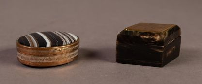 """19th CENTURY OVAL ENGINE TURNED BRASS SNUFF BOX, with banded agate hinged lid and base, 1 3/4"""" (4."""