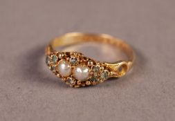 VICTORIAN 18ct GOLD RING with a fancy lozenge shaped setting of two centre pearls and surround of