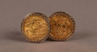 PAIR OF 9ct GOLD FACET CUT T BAR CUFFLINKS each with a George V 1912 GOLD SOVEREIGN, in a loose