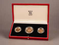 ROYAL MINT CASED AND ENCAPSULATED THREE GOLD COIN PROOF SET, 1986, comprising: TWO POUNDS, SOVEREIGN