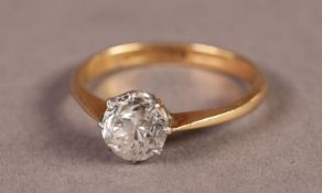 18ct GOLD AND PLATINUM RING SET WITH AN OLD CUT SOLITAIRE DIAMOND, approximately 1.04ct, 2.7gms,