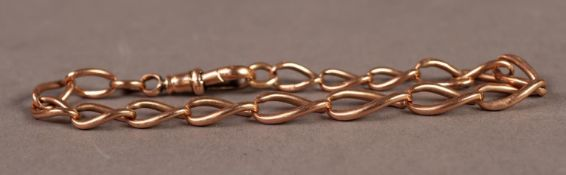 9ct GOLD BRACELET with large curb patten link, having swivel clip clasp, 13.8gms