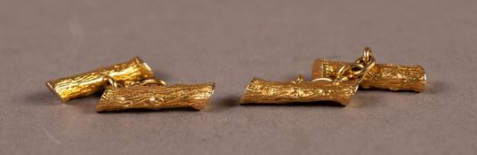 PAIR OF HEAVY 9ct GOLD DOUBLE CUFFLINKS, each with two rustic branch pattern bard, 13.6gms