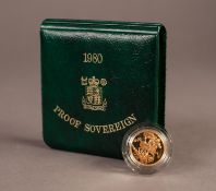 ROYAL MINT CASED AND ENCAPSULATED ELIZABETH II GOLD PROOF SOVEREIGN 1980 (VF) in green case