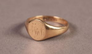 9ct GOLD SIGNET RING, the oval top engraved with initials 'MA', Birmingham hallmark 1859, 2.8gms,