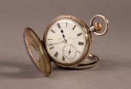 LATE VICTORIAN SILVER DEMI HUNTER POCKET WATCH with keyless movement, white Roman dial with