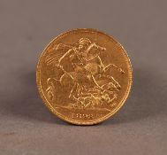 VICTORIAN 1893 GOLD SOVEREIGN (VF)