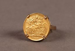 9ct GOLD RING, loose mounted with a George V 1912 GOLD HALF SOVEREIGN, 8gms gross, ring size O