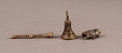 ANTIQUE FOB SEAL, gilt bronzeset with an oval intaglio depicting a female head; a small Victorian