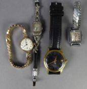 GENTS VILLARD SWISS GOLD PLATED VINTAGE WRIST WATCH with 17 jewels incabloc movement, round black