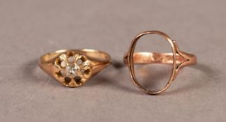 VICTORIAN GOLD RING set with small old cut diamond, approximately 1/10th carat, 2.8gms, ring size