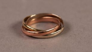 9ct GOLD RING, comprising three different colour gold interlinked bands, Birmingham 1969, 4.6gm,
