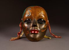 MODERN COLD PAINTED AND PATINATED CAST METAL WALL MASK, probably Italian, 6? x 4 ½? (15.2cm x 11.