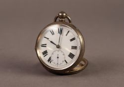 LARGE OPEN FACED POCKET WATCH with key wind movement, white Roman dial, having subsidiary seconds