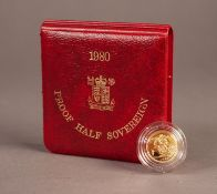 ROYAL MINT CASED AND ENCAPSULATED ELIZABETH II GOLD PROOF HALF SOVEREIGN 1980 (VF) in red case