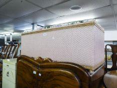 A LOOM OTTOMAN BOX AND A ROBING MIRROR