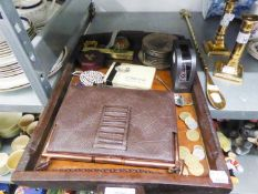 AN OAK TWO HANDLED TRAY, GLASS PAPERWEIGHT, ADRIAN BUCKLEY BRACKET (BOXED) AND A SMALL QUANTITY OF