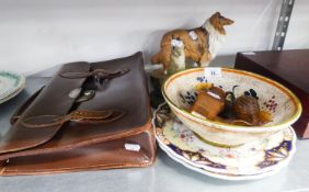 A BORDER FINE ARTS COMPOSITION MODEL HARE, A PAIR OF VICTORIAN PORCELAIN PLATES, A BESWICK MODEL '