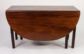 LATE GEORGIAN COMPOSITE MAHOGANY DROP LEAF DINING TABLE AND A SET OF FOUR EARLY TWENTIETH CENTURY
