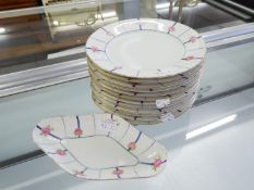 SET OF TWELVE LIMOGES PORCELAIN PLATES, each painted with a border of roses on radiating blue lines,