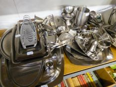 A SELECTION OF STAINLESS STEEL ITEMS TO INCLUDE; TEAPOTS, WATER JUGS, TRAYS, CONDIMENTS ETC....