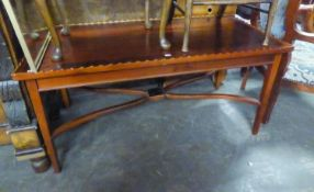 AN INLAID NURSING CHAIR WITH MOTHER O'PEARL DECORATION AND A REPRODUCTION MAHOGANY OBLONG COFFEE