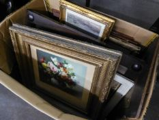 A PAIR OF STILL LIFE PRINTS, VASE OF FLOWERS, IN GILT FRAMES AND A QUANTITY OF MAINLY PRINTS (MOSTLY