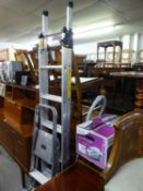 YOUNGMAN METAL THREE WAY COMBINATION LADDER AND AN ELECTROLUX SMALL TROLLEY VACUUM CLEANER