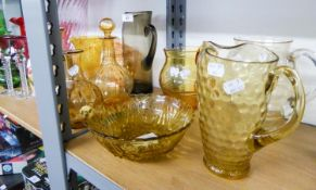 SELECTION OF GLASS WARES TTO INCLUDE; DECANTER, JUGS, BOWL ETC......