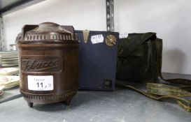 TWO BOX CAMERAS AND A BROWN BAKELITE TOBACCO JAR WITH SCREW-OFF LID
