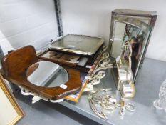 A QUARTZ MANTEL CLOCK WITH PICTURE FRAME CASE, QUARTZ CLOCK, AOTHER CLOCK, OVAL MIRROR IN CREAM